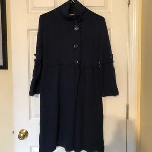 High neck navy sweater duster